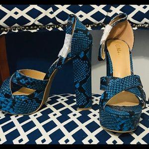 Platform heel sandals blue snake skin